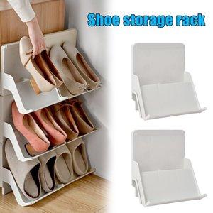 2pcs Nordic Style Shoe Rack multicouche Assemblage vertical anti-poussière anti-poussière Table de rangement GQ999 201110