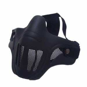 Cosplay Half Face Mask Adult Halloween Carbon Steel Metal Mesh Lens Adjustable Ribbon Outdoor Apparel for Airsoft Paintball