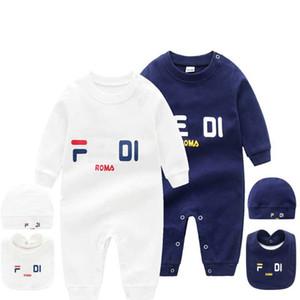Baby 3 pcs set Hat Bib Jumpsuit Kids Designer Clothes Girls Boys Brand F letter Clothes Newborn Baby Fd Rompers Toddler Designer Clothes
