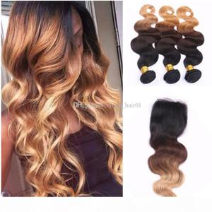 Body Wave Ombre Cabello con cierre de encaje 1b 4 27 Cierre de encaje de pelo virginal brasileño humano con paquetes 4pcs Lot