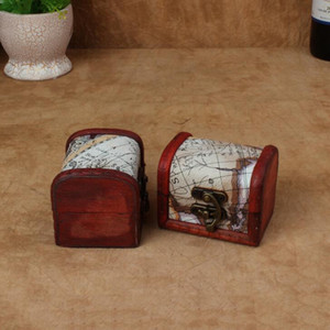 Vintage Jewelry Box Mini Wood World Map Pattern Metal Container Organizer Storage Case Handmade Wooden Small Boxes KKD4044