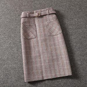 Mujeres Invierno bolsa de un paso falda de cadera Falda femenina Versión coreana Falda de tela escocesa Lady Longitud media Cintura alta
