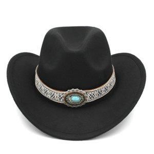 Men Women Autumn Winter Wool Blend Western Cowboy Hat Outdoor Wide Brim Jazz Hat Cowgirl