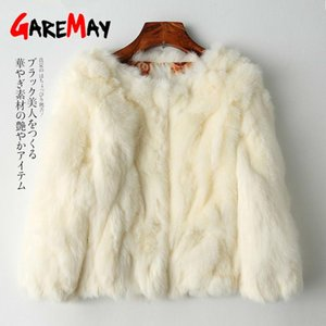 Chaqueta GareMay Piel real para la capa de la manga larga de las mujeres más el tamaño de abrigo de las mujeres short real Mujer caliente felpa Coats
