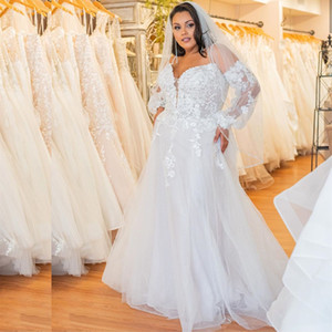 Plus Size White A Line Wedding Dresses with Long Sleeve Spaghetti Strap Lace Appliques Country Wedding Gowns 2021