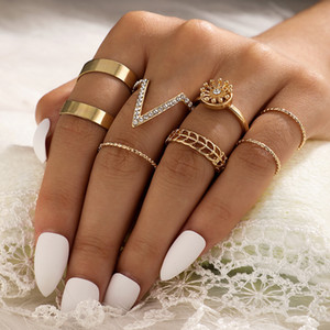 7pcs set Crystal flower V shape knuckle Ring Gold women Joint Knuckle Rings Stackable Ring for Women fashion jewelry will and sandy new