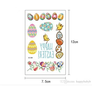 12*7.5cm Waterproof temporary fake Easter Egg tattoo stickers rabbit bunny cartoon kids children body art make up tools 12 styles