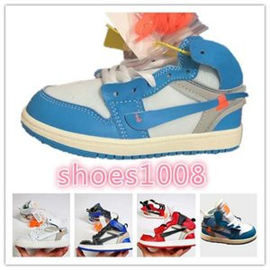 T Luxury designer UNC High OG 1s Youth Kids Basketball Shoes White University Blue off Born Baby Infant Toddler Trainers Boys Girls Sneakers