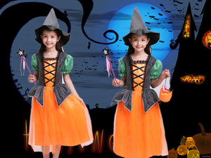 New 2020 Baby Girl Cosplay Dress With Hat Halloween Costume For Kids Children Vampire Pumpkin Dresses Print Party Princess Dress