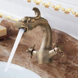 Античная латунь ванной кран двойной ручкой Китайский дракон унитазы раковины Смеситель для раковины Смесители на бортике одно отверстие Водопад бассейна
