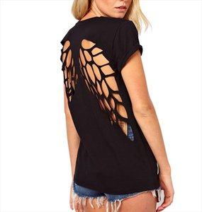 Summer Women T Shirt Casual Womens Punk Laser Backless Hollow Angel Wings Cut Out Tops T shirt Black White Plus Size 15
