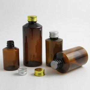 Altın Gümüş Cap Delik Ekler 30pcs ile Doldurulabilir Boş 50ml 100ml 150ml 200ml Amber Brown Krem Cilt Bakımı Şampuan Şişe