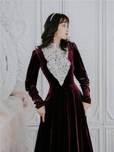 Kadın parti gece giyinmiş bordo kadının vintage kadife uzun zarif kol tam ayak bileği uzunluğu elbise 2021 bahar 93oa