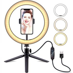 "LED Ring Light 10.2"" with Desk Tripod Stand Phone Holder for YouTube Video Live Streaming Makeup RingLight Photography Lamp"