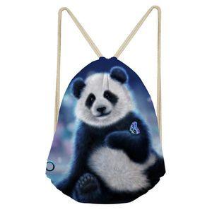 Pop2019 personalizada fresco de la mariposa 3D panda animal de los hombres de la impresión bolsos de hombro Small Mujeres con asas de la taleguilla de Cuerda