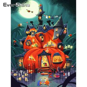 EverShine 5D DIY Ful Square Paint With Diamond Halloween Picture Rhinestones Pumpkin House Cross Stitch Wall Decor Bead Art