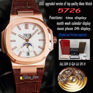 Nuova versione BEST-versione BIANCO Dial Rose Gold Case in acciaio 5726 1A-014 Guarda l'orologio da uomo Cal.324 S QA LU 24 H Strap in pelle automatico Sport-orologi