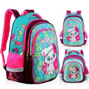 Nueva mochila de niña ortopédica para la escuela 3D Dibujos animados gato gatos EVA bolsas de la escuela primaria Grado 1-5 Bolsa de niños Y200615