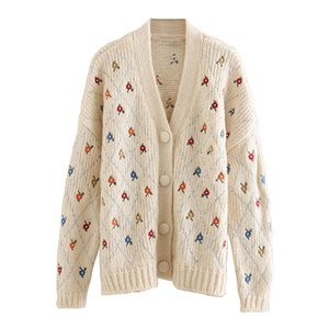 Sweet Chic Embroidery Cardigans Women Fashion Single Breasted V Neck Sweater Elegant Ladies Long Sleeve Jumpers A1107