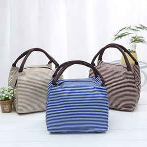 Fashion Lunch Bag Inside Aluminum Foil Design Stripes Pattern Outdoor Picnic Thermal Insulation Package Canvas Bento Bags 4 2xz L2