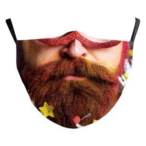 Hot sale christmas face mask masque christmas decorations Halloween Human head beard santa masks adults cotton reusable washable
