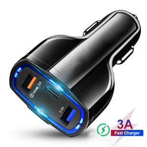 QC 3.0 USB C автомобильное зарядное устройство с 3 быстрой зарядки портов 3,0 автомобиля телефона зарядки адаптер для Xiaomi Mi 9 редми iPhone