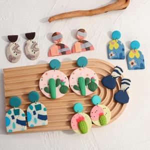 Chinkle Chastelier Amorce Multi-Type Handmade Симпатичные полимерные Глиняные Серьги Цветок Кактус Узор Геометрический Подвеска Заявление Bijoux