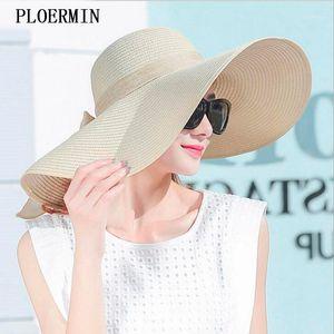 Широкие Breim Hats Элегантный стиль Лето Большая Соломенная Шляпа Взрослые Женщины Девушки Мода Солнца УФ Защитить Большой Лук Beach1
