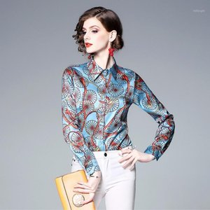 New Fashion Runway Shirt Women 2019 Spring Summer Turn Down Collar Retro Print Blouse Female Long Sleeve Blouses Shirt Top1