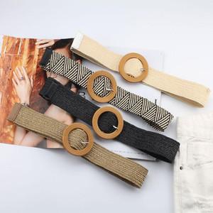 Hand-Woven Belt For Women Elastic Round Square Buckle Korean Style Knitted Waist Belt Fashion Dress Decor Skirt Waistband