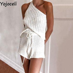 Yojoceli Autumn knitted one shoulder playsuit women Casual 2 set elegant jumpsuit romper Cool daily short overalls romper