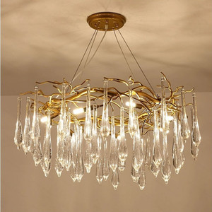 Luxurious LED Chandelier Nordic 6 8 12 Head K9 Crystal Ceiling Chandelier Light for Dining room Villa Living room Decor