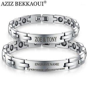 Aziz Bekkaoui Bracciali magnetici sani Braccialetti Bangles Amanti di magnetite in acciaio inossidabile Gioielli per gli uomini Donne speciali Braccialetto di nome #