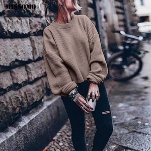 MISSOMO Autunno Inverno maglione donne pullover a maniche lunghe O-collo Lanterna Maglione fatto a maglia tirare Femminile Jumper sweter Top 11 200930