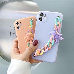 Cute 3D Cartoon Bear Rainbow Bracelet soft phone case for iphone 11 12 pro MAX XS XR 7 8 plus X Back Cover Funda