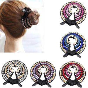 Women Fashion Tools Headwear Bun Holders Rhinestone Geometric Styling Nest Expanding Simple Hair Claw Half Balloon Jewelry Girls