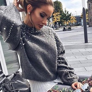Women Sweaters Long Sleeve Knitted Womens Pullovers Female Winter O Neck Pearl Short Warm Sweaters Mujer Pull Femme Z25