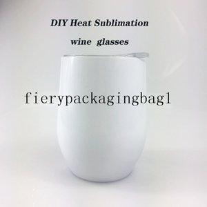 2021f DIY Heat Sublimation 12oz Wine tumbler Stainless Steel Wine Glasses Egg Cups Stemless Wine Glasses with Lid Free shipping