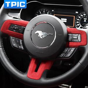 Dirección TPIC Alcantara rueda de coche de la etiqueta engomada del botón del marco de protección cubren la etiqueta para FURD Mustang 2020 Auto Accesorios Interior