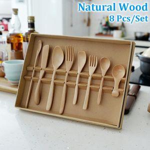 8 Pcs set Tableware Set Natural Wooden Spoon Fork Knife Cutter Cutlery Set Portable Outdoor Picnic Children Kitchen Tool Reusable Dinnerware