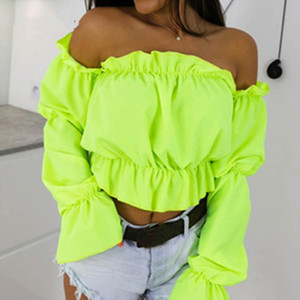 2020 Candy Color Off Shoulder Crop Tops women Summer dot print lantern sleeve shirts Lady Sexy Slash neck beach blouse