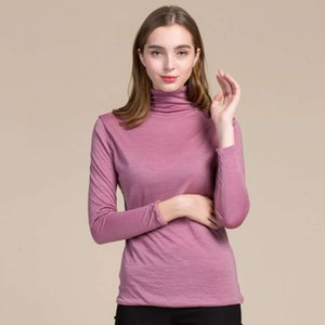 Pure woolen women's autumn winter new double layer high collar bottomed with contrast color and large size sweater on woman tops