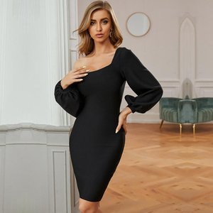 CIEMIILI 2020 Women's New Arrival Fall Winter Bandage Dress Fashion Black Slanted Shoulder Party Dress