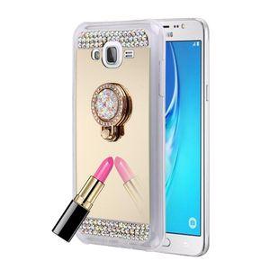 Pour Galaxy J7 J700 Diamond Coque de protection de protecteur de miroir d'oscillation avec porte-bague cachée