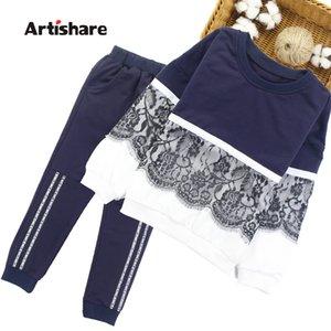 Artishare Girls Sports Traje Invierno Spring Niños Trajes deportivos para niñas Lace Adolescente Niños Ropa 8 10 12 14 años LJ200915