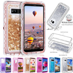 Bling crystal Liquid glitter 360 protect Designer Phone Case robot shockproof back cover for iphone 12 11 pro max note 20 S20 plus DHL