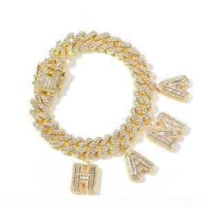 Custom Name Baguette Letters With Link Miami Cuban Link Chain Bracelet For Men Women Hip Hop Bling Bling Jewelry