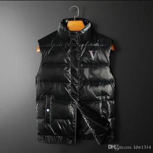 chaqueta de invierno de la letra V del diseñador de los nuevos hombres del chaleco masculino abajo concede cálida carta imprimir cuello alto chaleco de invierno de moda de alta calidad