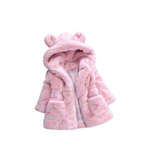 Fashion Girls Faux Fur Coat Winter Long Sleeve Hooded Warm Jacket Imitation Rabbit Fur Long Coat For Kids 8-13 Year Soft Outwear
