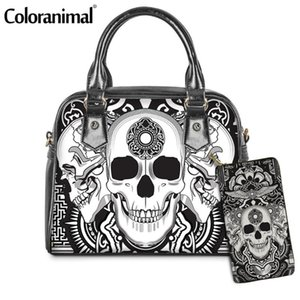 Coloranimal Day of the Dead Gothic Skull Avatar Pattern PU Handbag for Women 2Pcs Set Shoulder Bag&Purse Lady Messenger Bag Hot